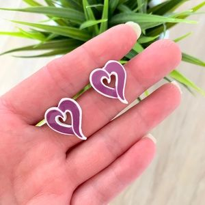 purple & white metal heart earrings
